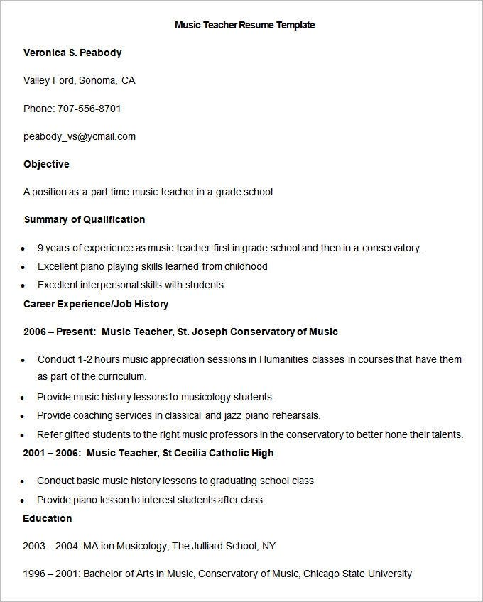 teacher resume templates pdf publisher free premium music template word sample when does Resume Music Resume Template Word
