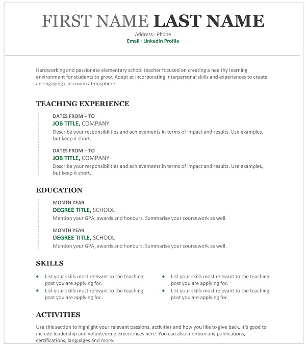 teacher resume to write one with sample monsterindia for applying job high school special Resume Resume For Applying Teacher Job