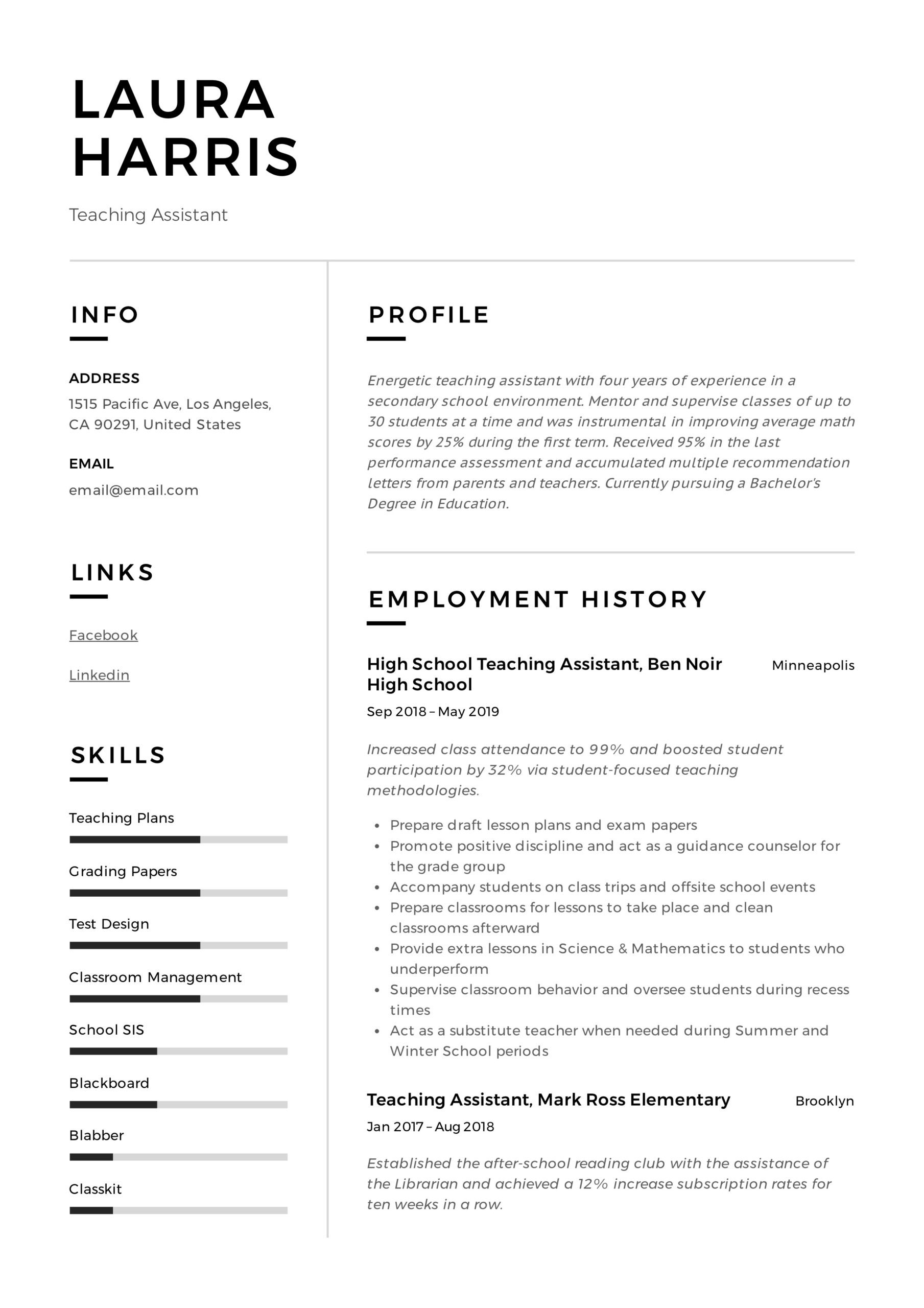 teaching assistant resume writing guide templates pdf responsibilities template corporate Resume Teaching Assistant Responsibilities Resume