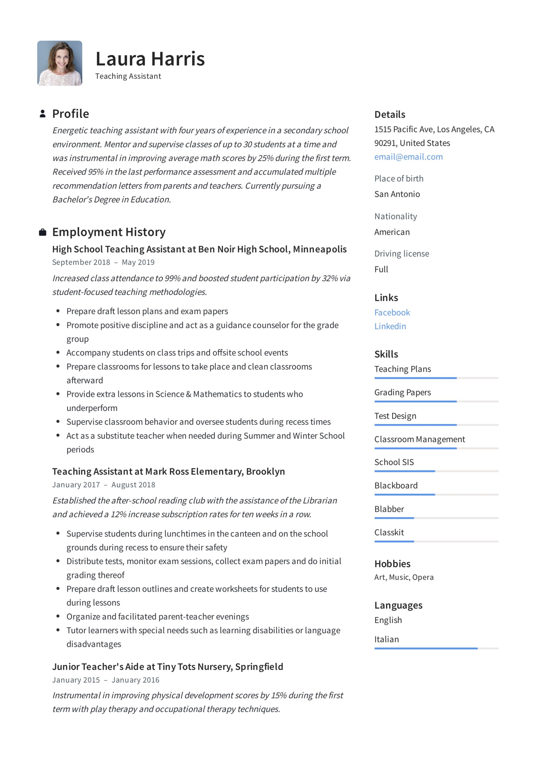 teaching assistant resume writing guide templates pdf responsibilities template file Resume Teaching Assistant Responsibilities Resume