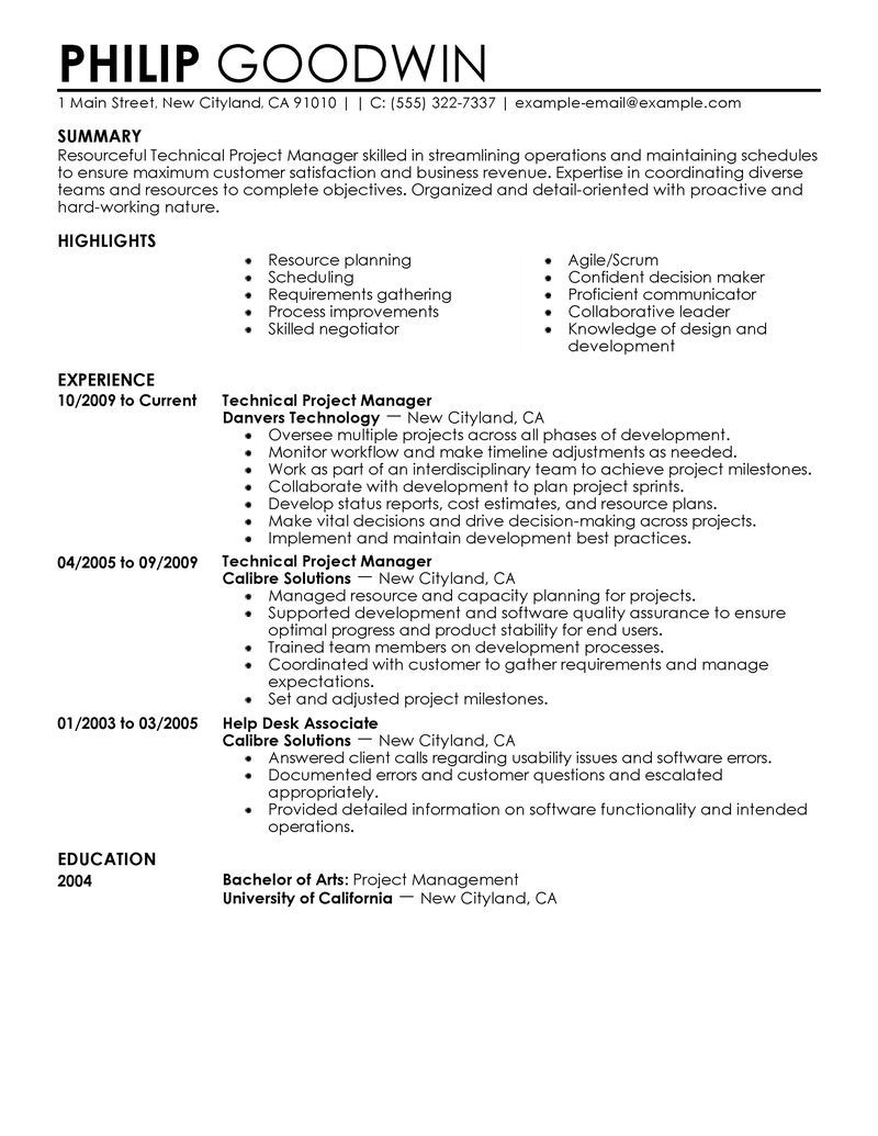 technical project manager resume examples computers technology samples livecareer student Resume Project Manager Resume 2020