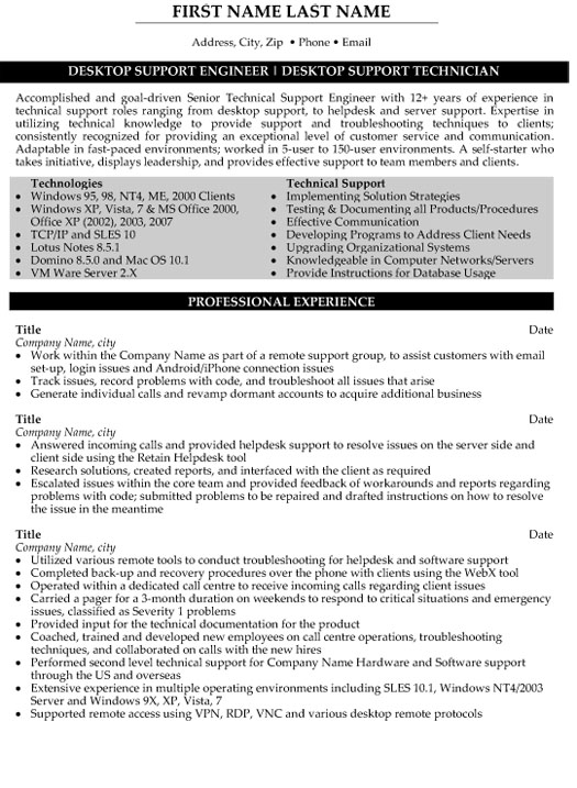 technical support engineer resume sample template desktop technician civil construction Resume Desktop Support Engineer Resume Sample