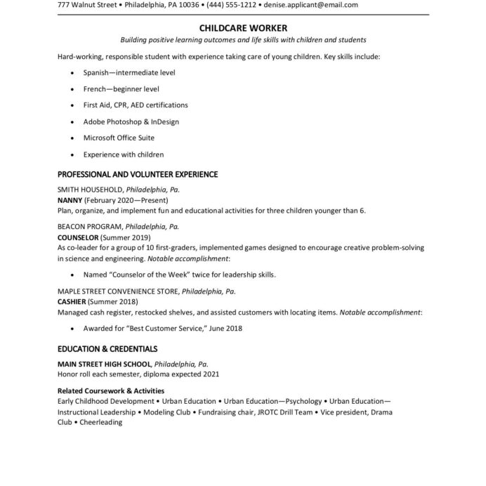 teen resume examples with writing tips first time descriptive words for skills general Resume First Time Resume Examples