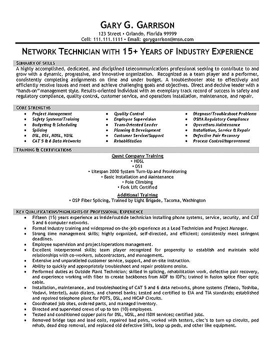 telecom technician resume example cell tower sample extec19a volunteer work template for Resume Cell Tower Technician Resume