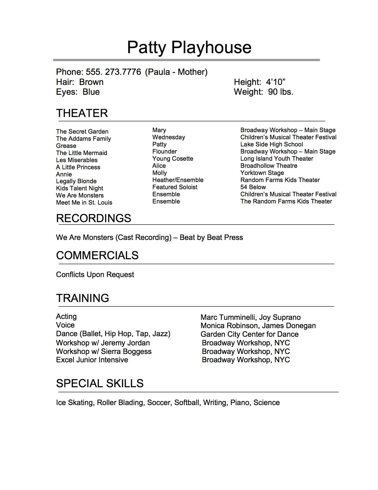 the art of perfect theatrical resume broadway workshop high school musical template cna Resume High School Musical Resume