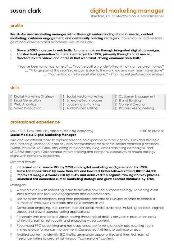 the best digital marketing cv examples templates media manager resume patient care Resume Digital Media Manager Resume