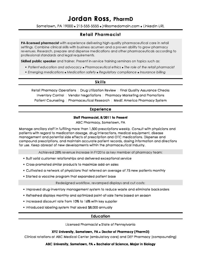 the best pharmacist cv and résumé examples managed care resume retail example dietary Resume Managed Care Pharmacist Resume