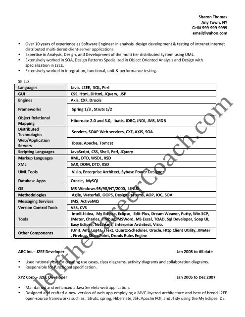 the j2ee developer resume sample three in pdf perl email with attached and cover letter Resume Perl Developer Resume Sample