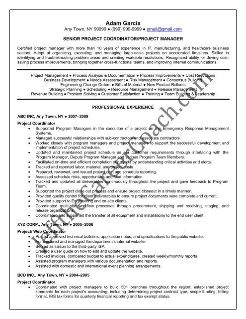the project coordinator resume sample one in pdf process film industry examples blt Resume Process Coordinator Resume