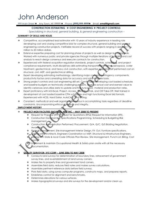 the quantity surveyor resume sample two in pdf civil does being marine look good on Resume Civil Quantity Surveyor Resume