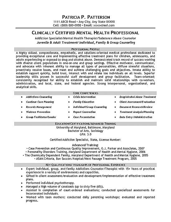 therapist counselor resume example objective for mental health sample exmed12a pattern Resume Objective For Mental Health Resume