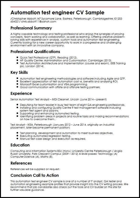this is the automation test engineer cv example by myperfectcv resume sample collection Resume Automation Engineer Resume