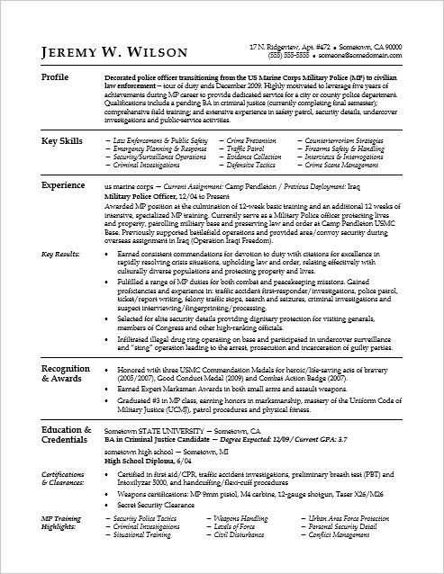 this sample resume shows you can translate your military skills for civilian job police Resume Resume Format For Retired Government Officer