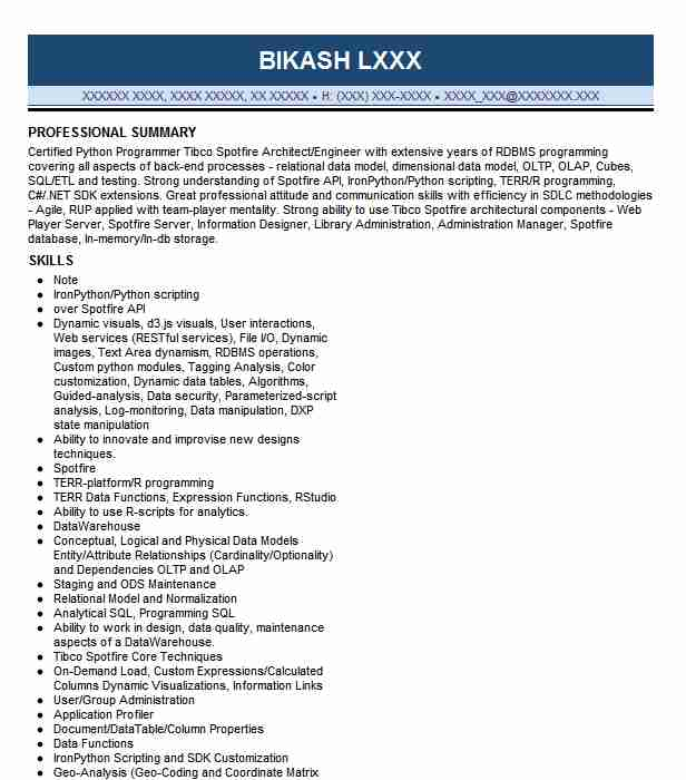 tibco developer resume example south west airlines irving spotfire construction industry Resume Tibco Spotfire Developer Resume