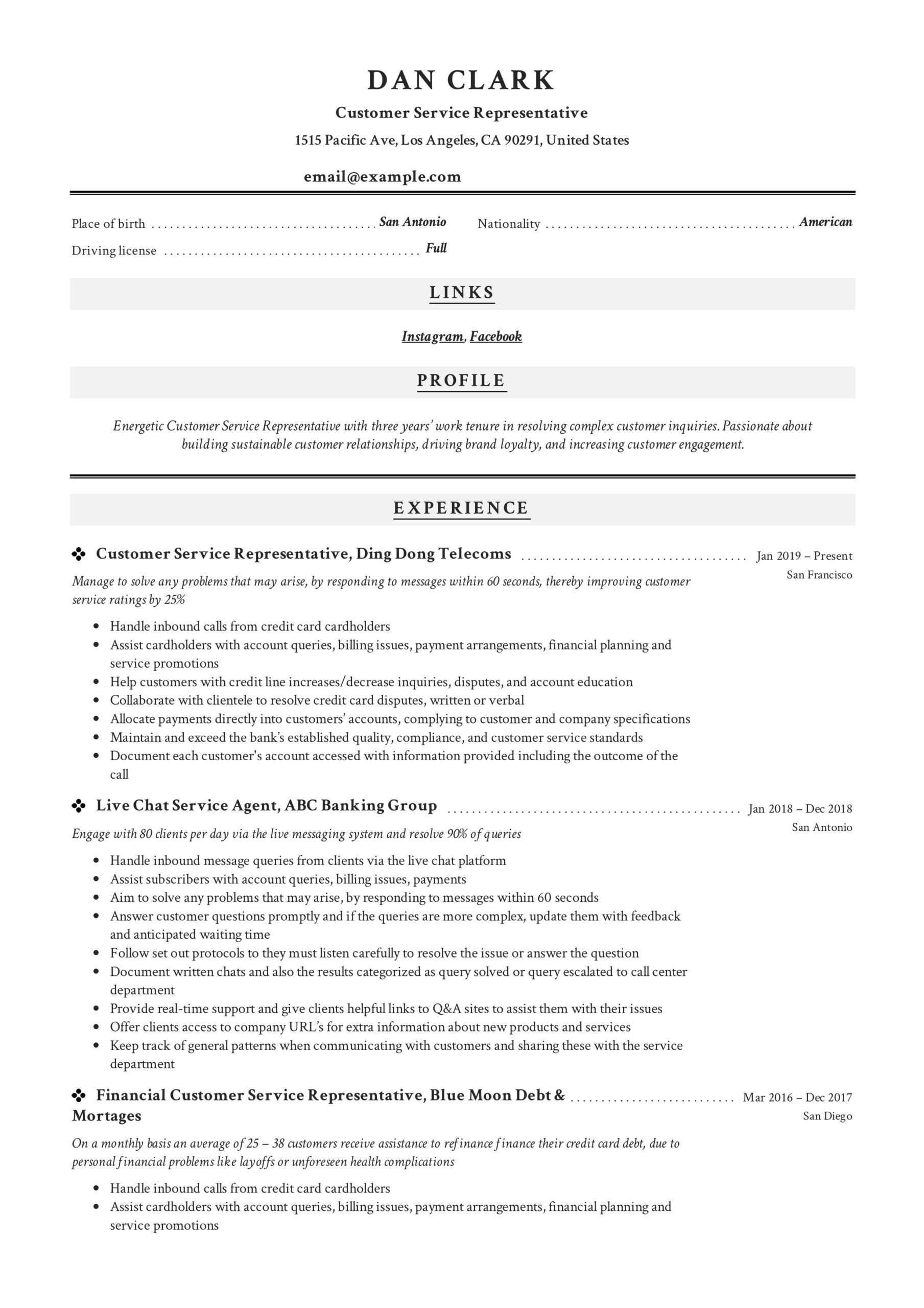 to customer service representative resume pdf samples duties for work experience examples Resume Customer Service Duties For Resume