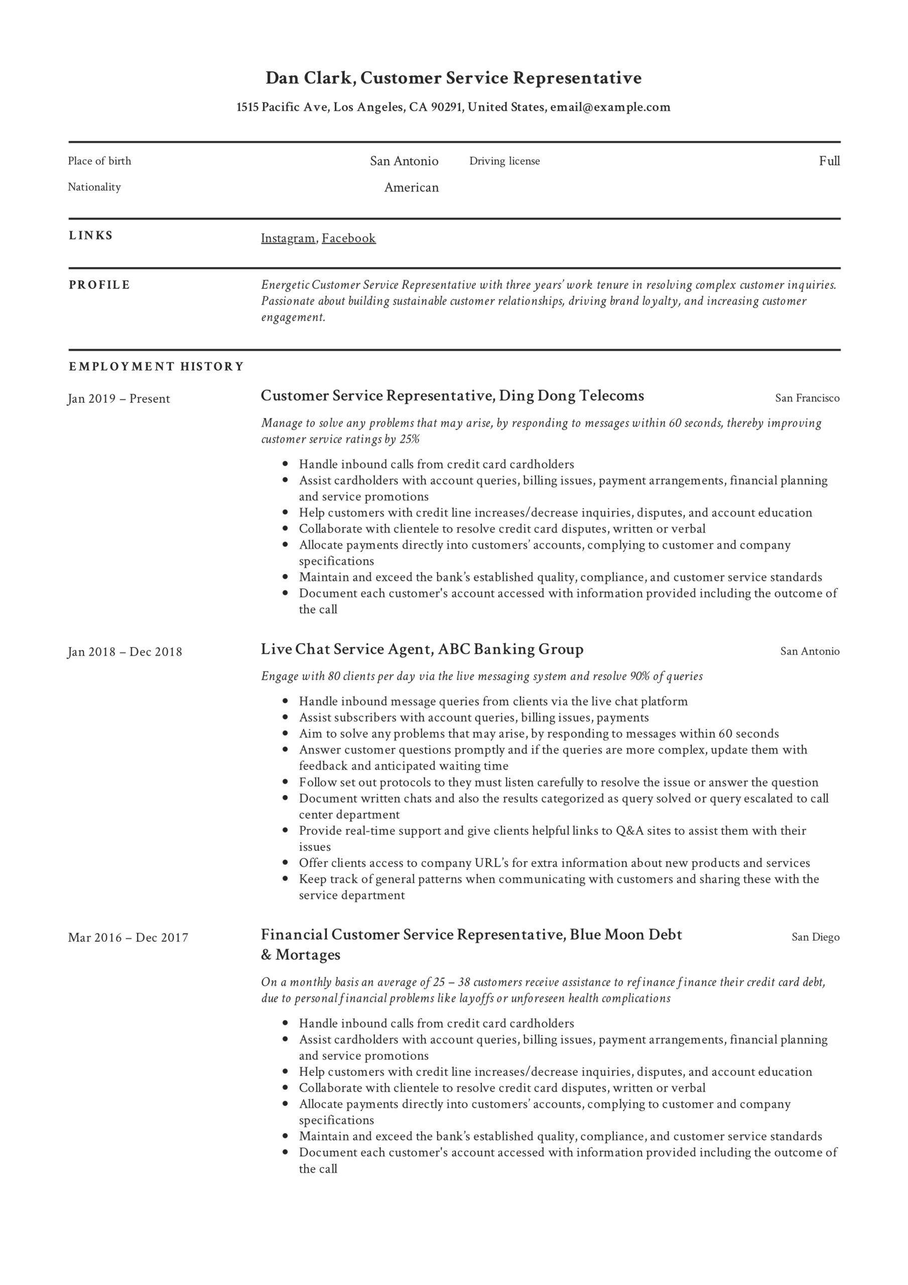 to customer service representative resume pdf samples overview expected graduation style Resume Customer Service Resume Overview