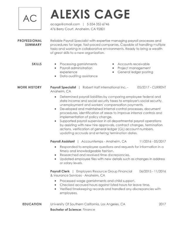 to include on your resume education examples tips section accounting payroll specialist Resume Resume Education Section