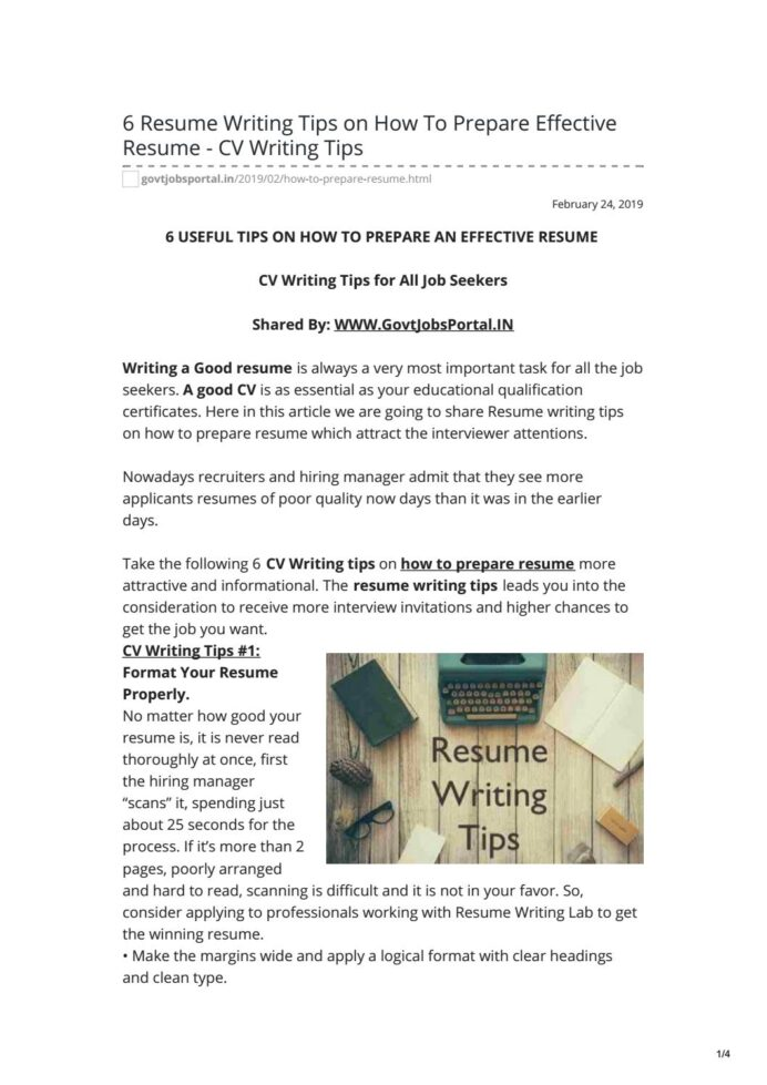 to prepare effective resume cv writing tips by govt jobs portal in issuu individual free Resume Effective Resume Writing