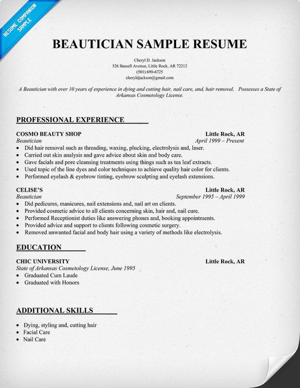 to write customer service resume or retail examples objective sample cosmetology when Resume Cosmetology Resume Sample