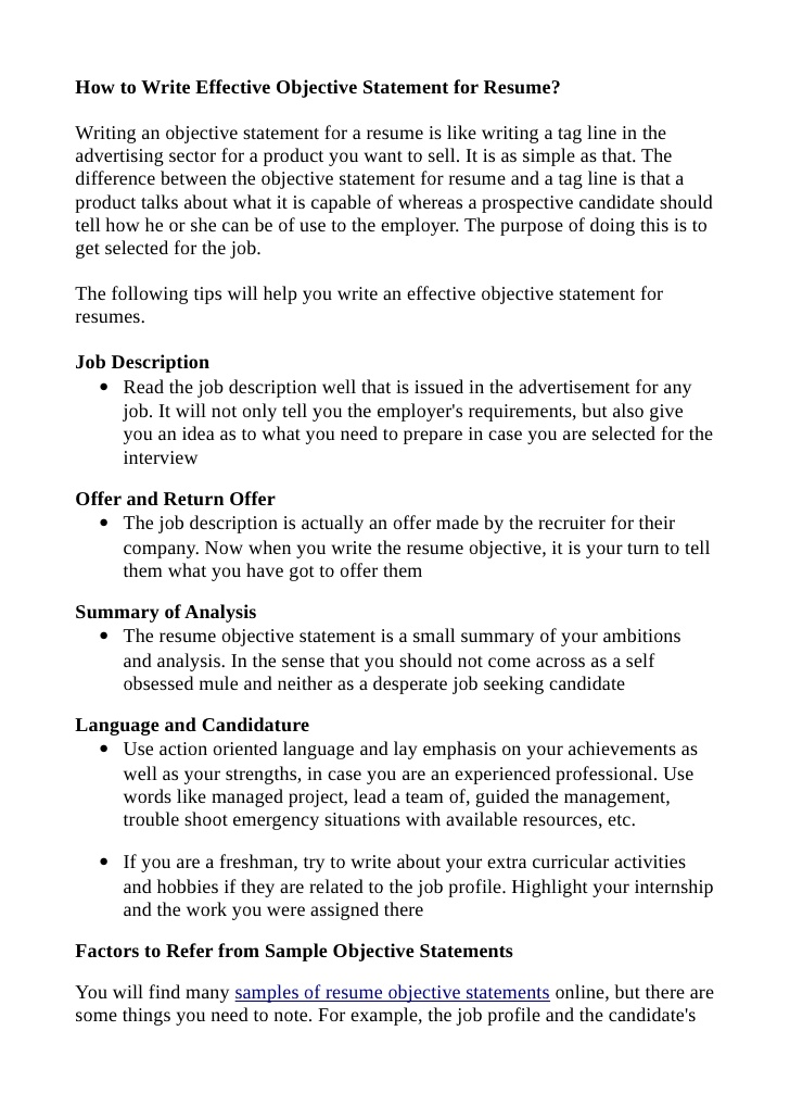 to write effective objective statement for resume objectives samples automated logistical Resume Effective Resume Objectives Samples