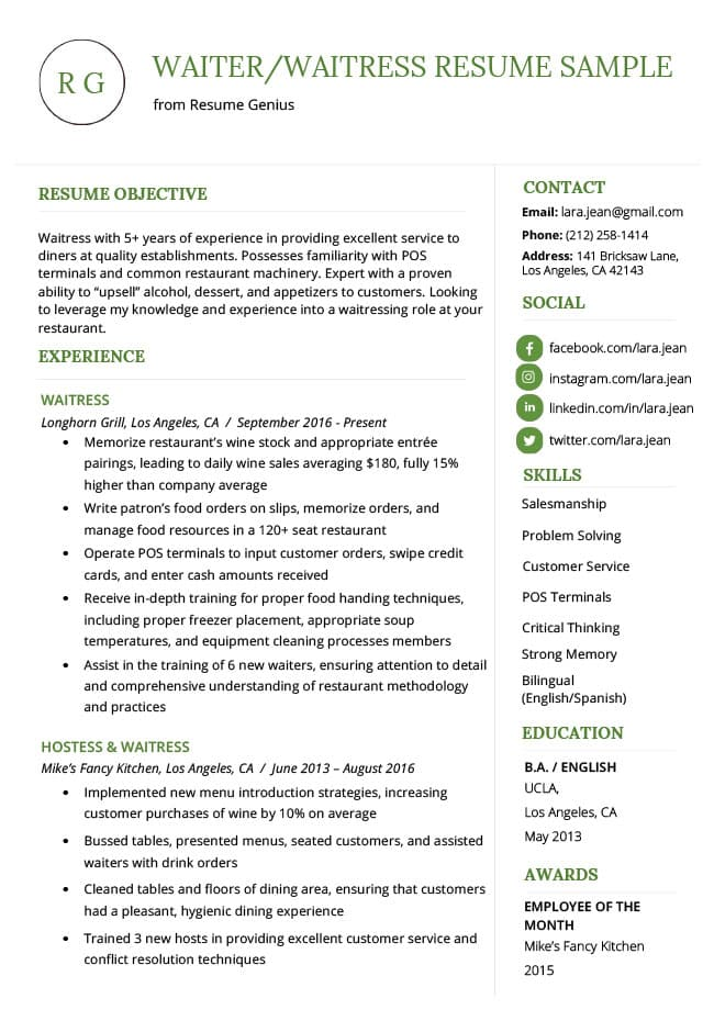 to write resume profile examples writing guide rg portion of waiter waitress sample Resume Profile Portion Of Resume