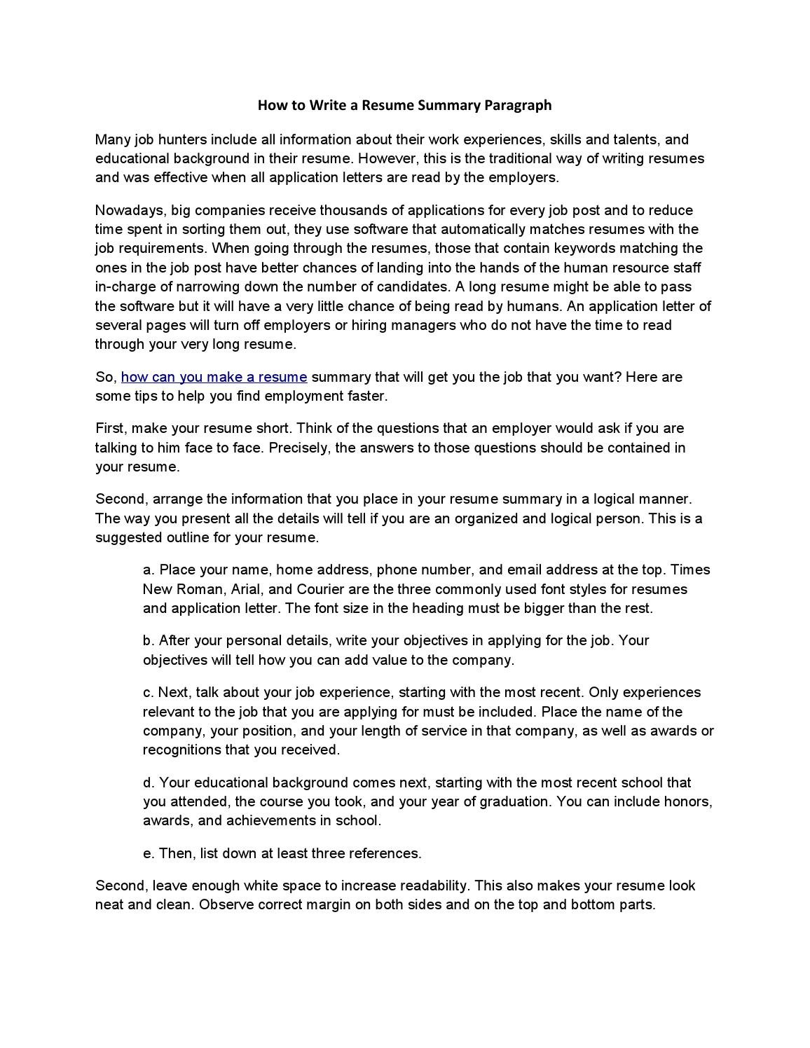 to write resume summary paragraph by acadsoc issuu brief of your background for creative Resume Brief Summary Of Your Background For Resume