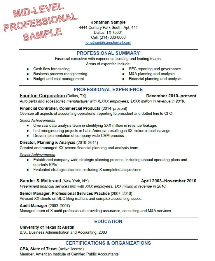 to write the perfect resume based on your years of experience for experienced Resume Resume For Experienced Professionals Templates