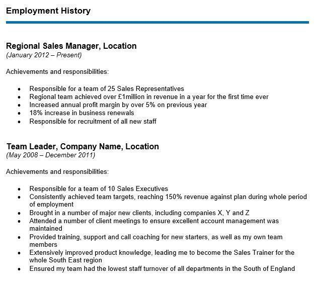 to write your cv employment history section with examples resume one job career 20changer Resume Resume With One Job History