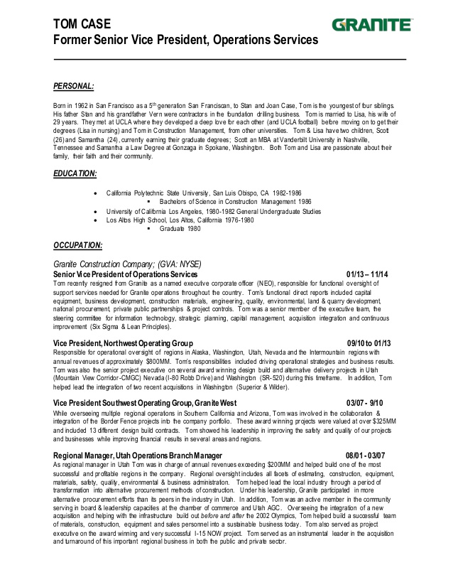 tom case resume construction president accomplishments for high school work synonym hire Resume Construction President Resume