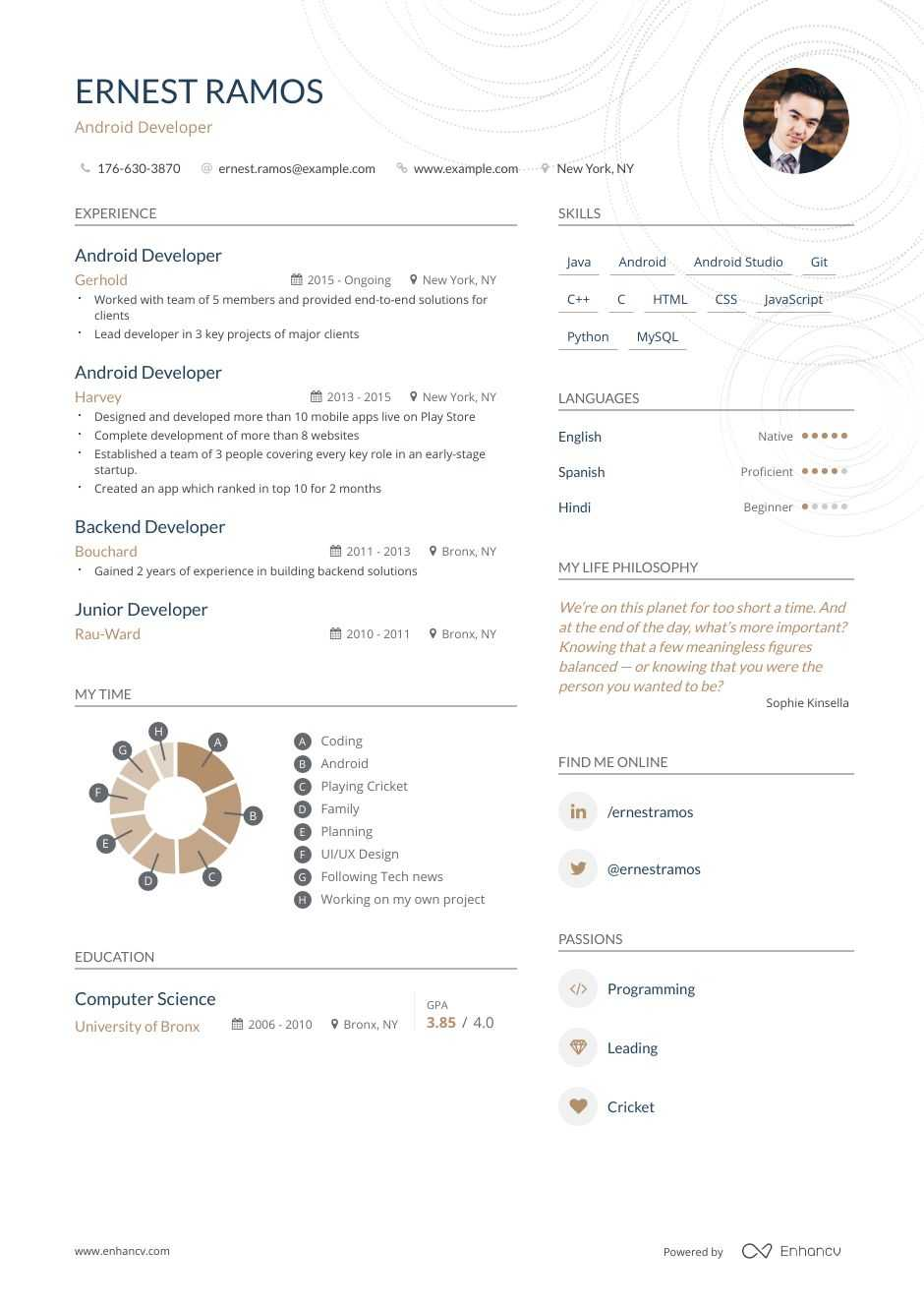 top android developer resume examples samples for enhancv years experience boilermaker Resume Android Developer Resume 1 Years Experience