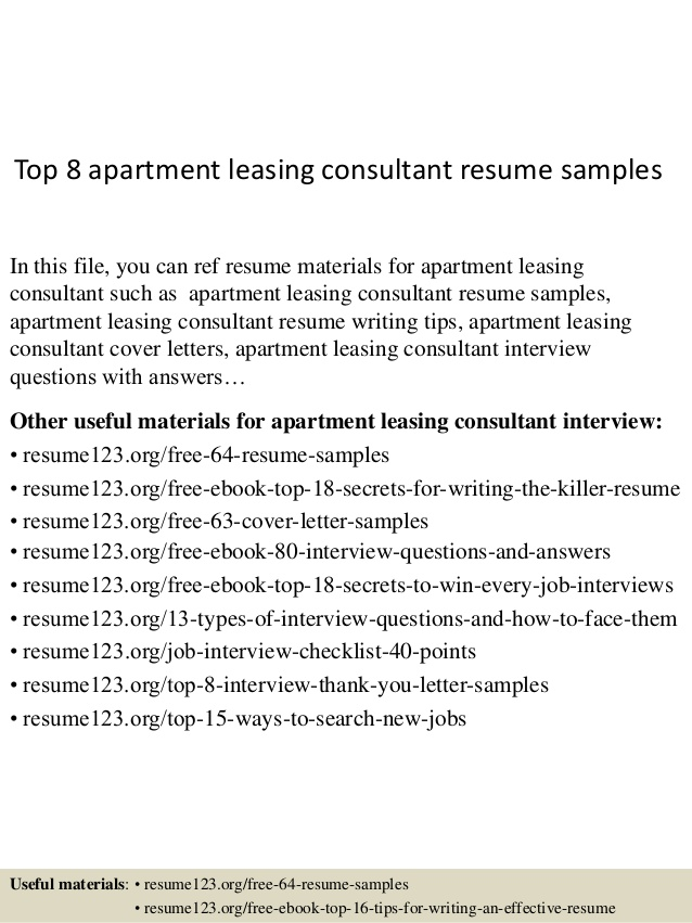 top apartment leasing consultant resume samples career objective for engineer examples Resume Leasing Consultant Resume