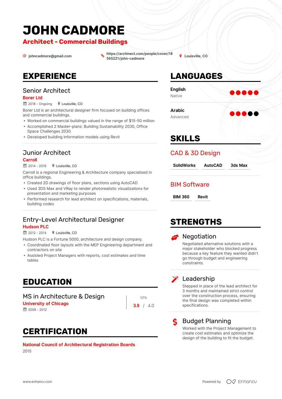top architect resume examples samples for enhancv architecture template mechanic Resume Architecture Resume Template