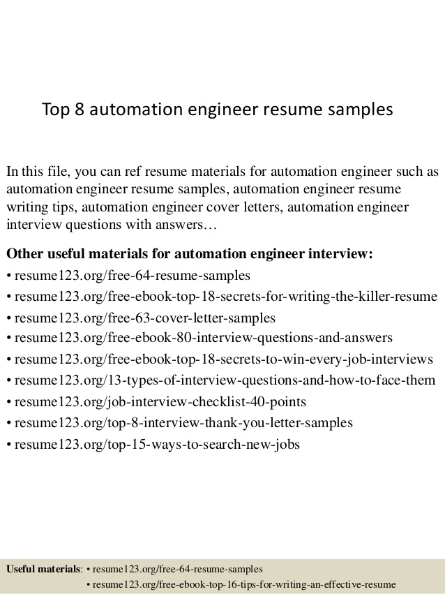 top automation engineer resume samples work related skills for collection representative Resume Automation Engineer Resume