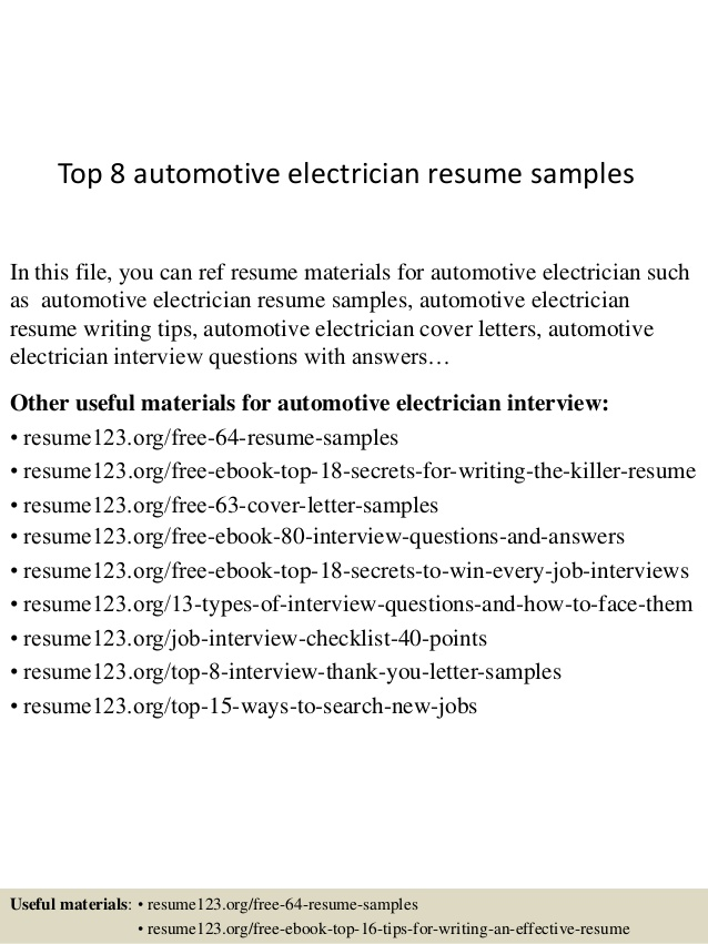 top automotive electrician resume samples auto sample cal poly elon musk business insider Resume Auto Electrician Resume Sample