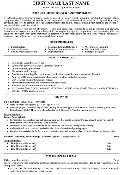 top biotechnology resume templates samples for freshers entry level biotechnologist lab Resume Resume For Biotechnology Freshers