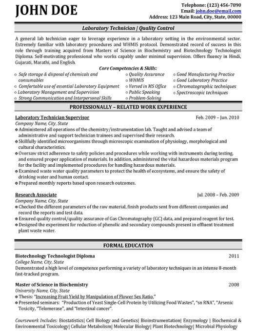 top biotechnology resume templates samples for freshers student laboratory technician Resume Resume For Biotechnology Freshers