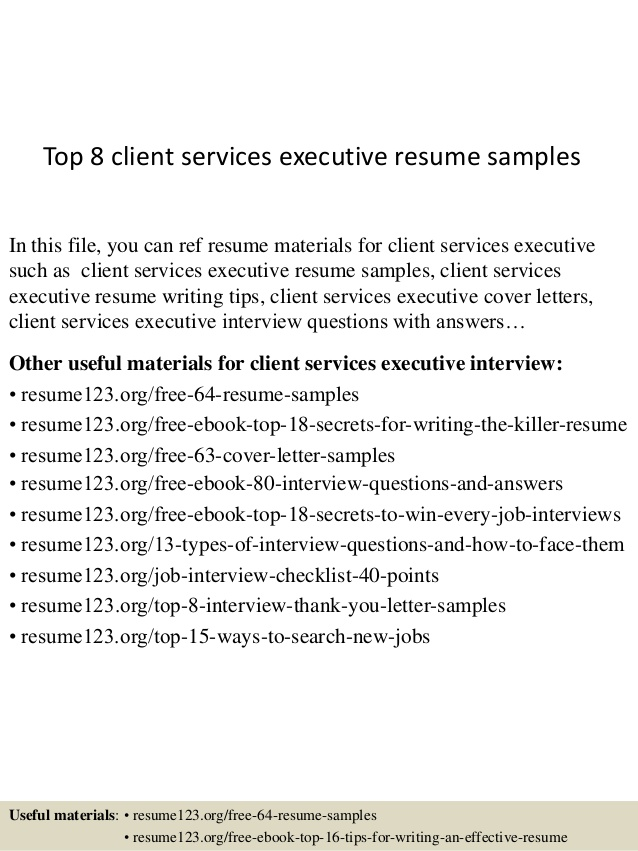 top client services executive resume samples sample for service cover letter civil Resume Sample Resume For Client Service Executive