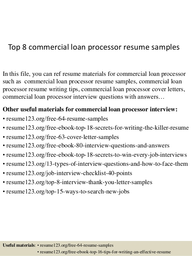 top commercial loan processor resume samples plumber pipefitter examples free federal job Resume Commercial Loan Processor Resume