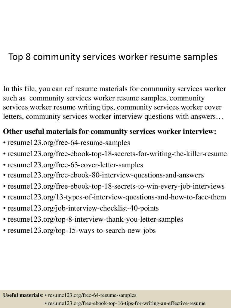 top community services worker resume samples service example Resume Community Service Worker Resume Example
