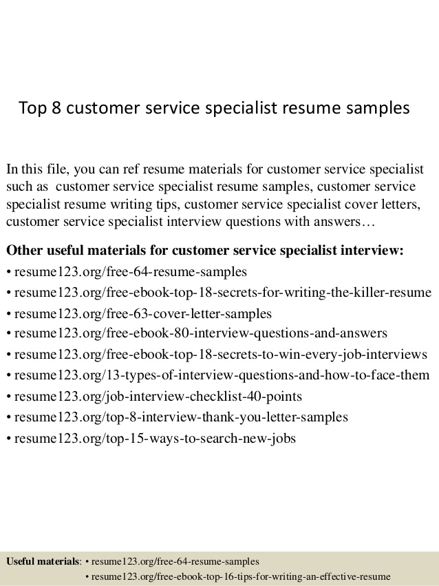 top customer service specialist resume samples sample housekeeping experience for Resume Customer Service Specialist Resume Sample
