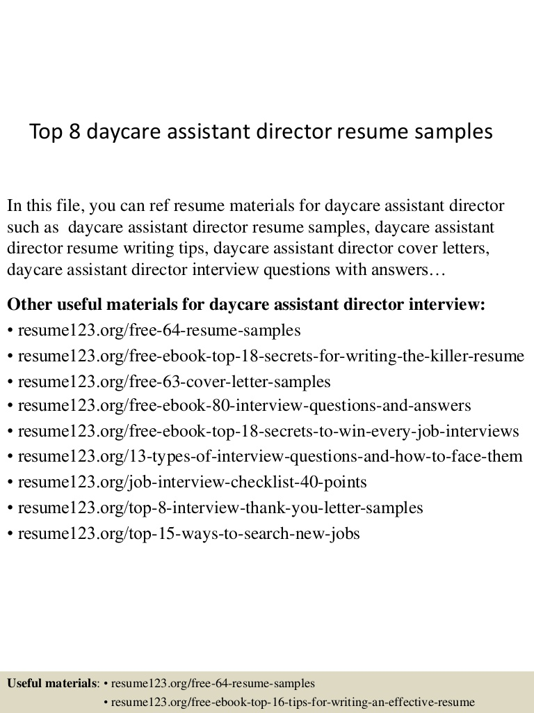 top daycare assistant director resume samples child care Resume Child Care Assistant Director Resume