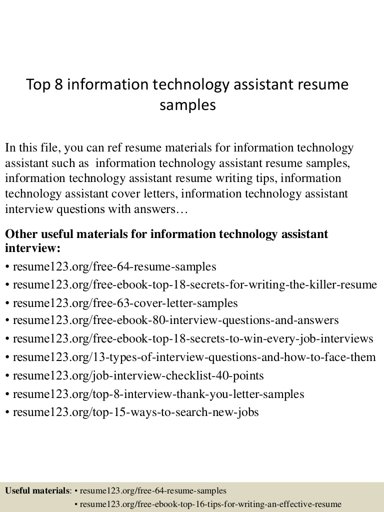 top information technology assistant resume samples objectives and goals Resume Information Technology Objectives And Goals Resume