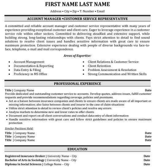 top insurance resume templates samples format for industry ins account manager customer Resume Resume Format For Insurance Industry