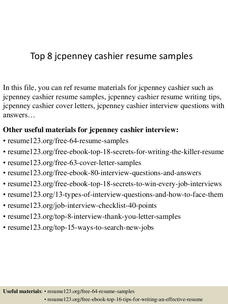 top jcpenney cashier resume samples examples top8jcpenneycashierresumesamples lva1 Resume Jcpenney Resume Examples