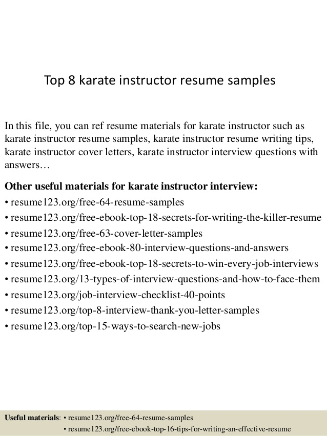 top karate instructor resume samples martial arts experience best examples free final Resume Martial Arts Experience Resume