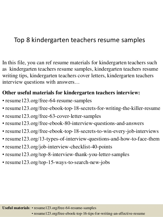top kindergarten teachers resume samples internet experience strong qualifications for Resume Kindergarten Resume Samples