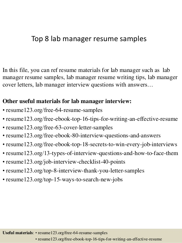 top lab manager resume samples laboratory security guard responsibilities opening Resume Laboratory Manager Resume