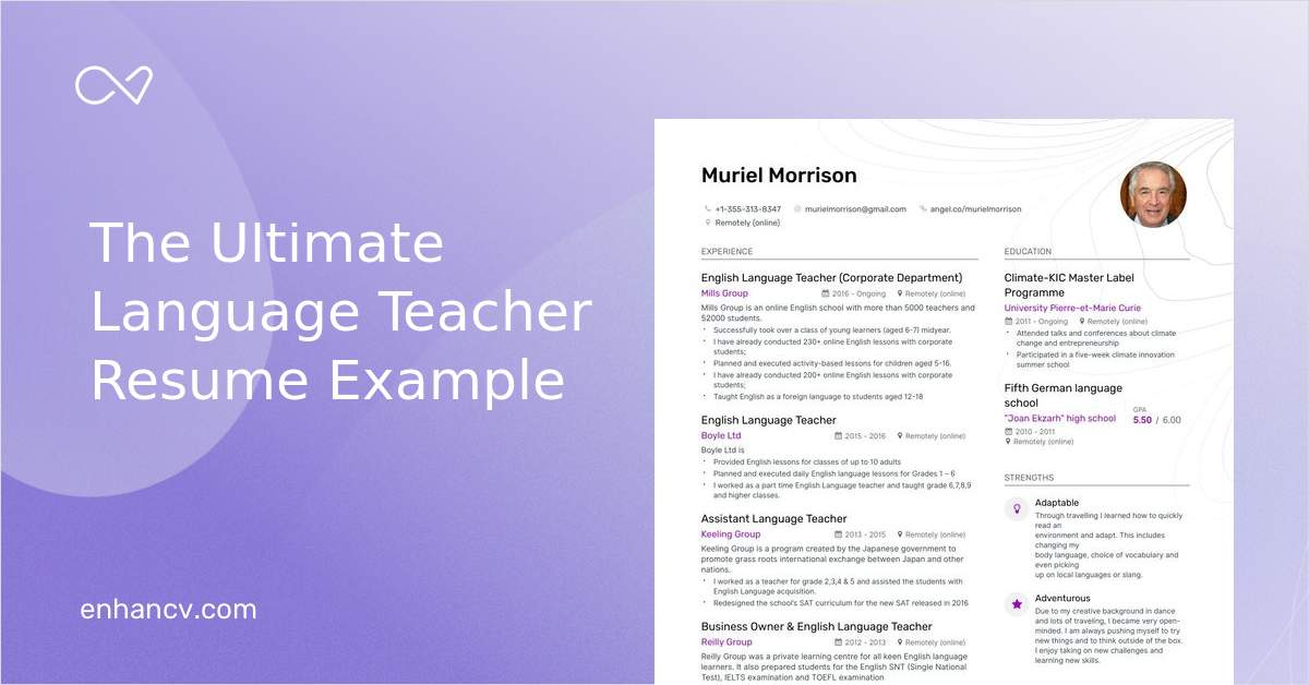 top language teacher resume examples samples for enhancv foreign over the road truck Resume Foreign Language Teacher Resume