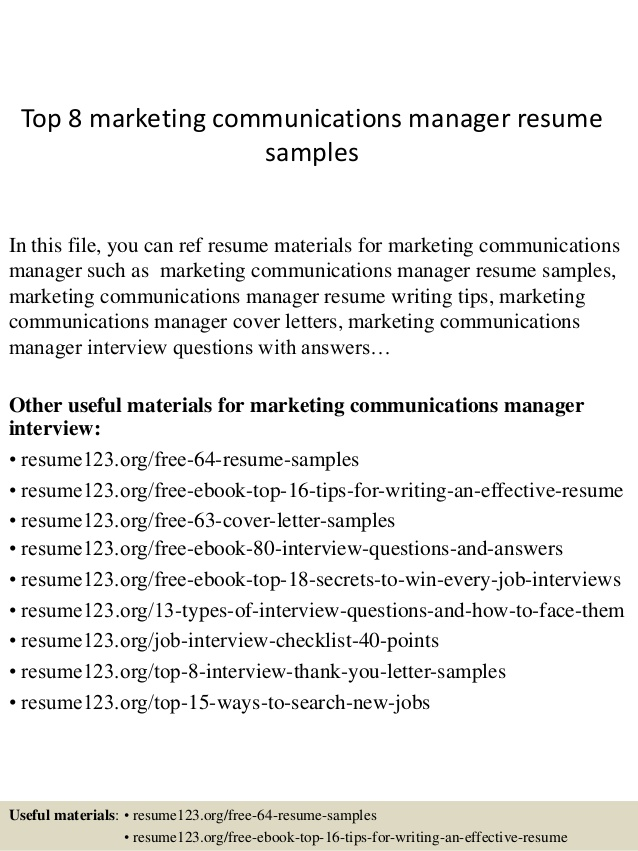 top marketing communications manager resume samples scientist examples technical writer Resume Marketing Communications Manager Resume