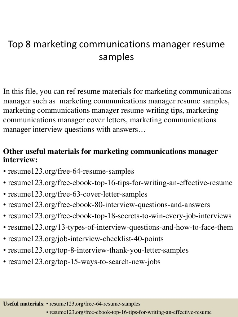 top marketing communications manager resume samples Resume Marketing Communications Manager Resume